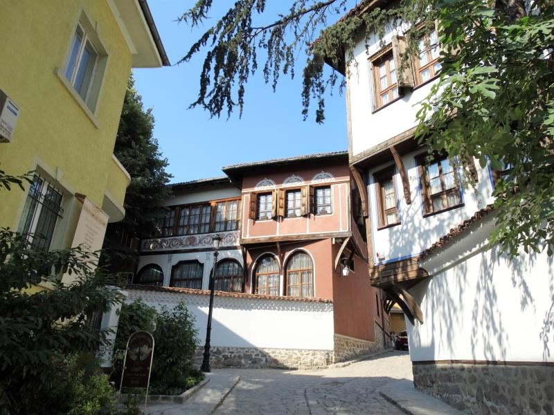 Gerestaureerde Ottomaanse gebouwen in de oude stad van Plovdiv