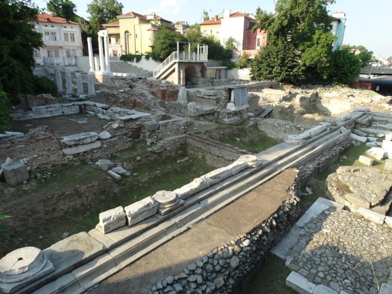 Romeinse opgraving met woonhuizen erachter.